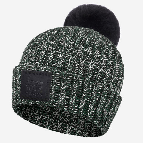 Black, Hunter and White Speckled Cuffed Pom Beanie (Black Leather Patch)-Love Your Melon