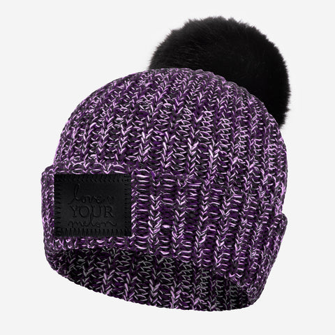 Black Ice Pom Beanie (Black Leather Patch)