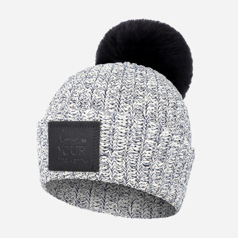 Kids Navy Speckled Pom Beanie (Black Leather Patch) (Black Pom)