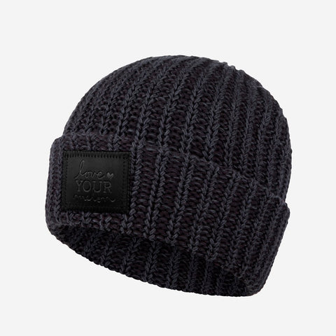 Smoke Speckled Cuffed Beanie (Black Leather Patch)-Beanie-Love Your Melon