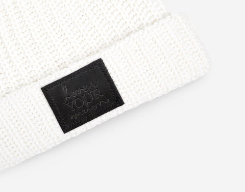 White Cuffed Beanie (Black Leather Patch)-Beanie-Love Your Melon