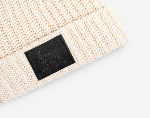 White Speckled Cuffed Beanie (Black Leather Patch)-Beanie-Love Your Melon