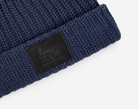 Navy Cuffed Beanie (Black Leather Patch)-Beanie-Love Your Melon