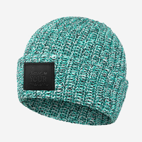 Mint Chip Cuffed Beanie (Black Leather Patch)