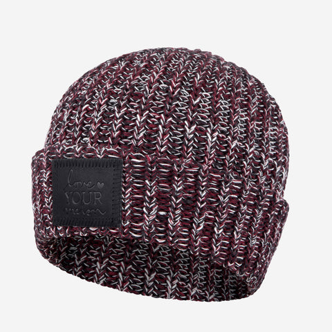 Black, Burgundy and White Cuffed Beanie (Black Leather Patch)-Beanie-Love Your Melon