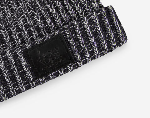Black and White Speckled Cuffed Beanie (Black Leather Patch)-Beanie-Love Your Melon