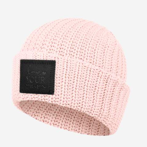 Blush Cuffed Beanie (Black Leather Patch)-Love Your Melon