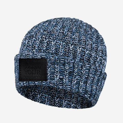 Winter Cuffed Beanie (Black Leather Patch)