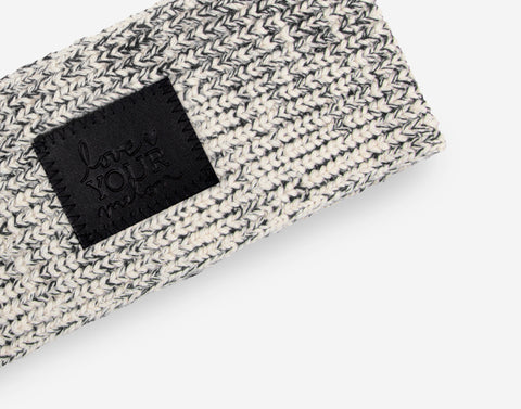 Black Speckled Knit Headband (Black Leather Patch)
