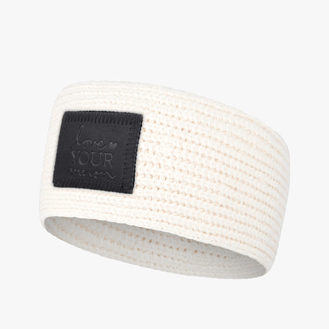 White Speckled Knit Headband (Black Leather Patch)-Love Your Melon