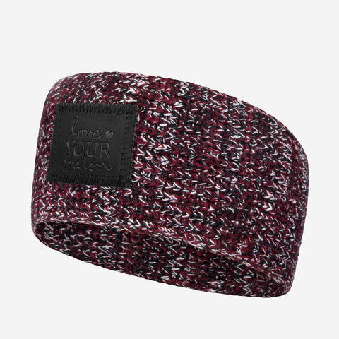 Black, Burgundy, and White Speckled Knit Headband (Black Leather Patch)-Love Your Melon