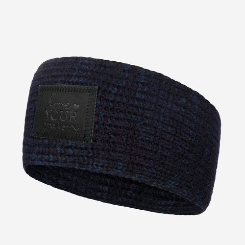 Black and Navy Speckled Knit Headband (Black Leather Patch)-Love Your Melon