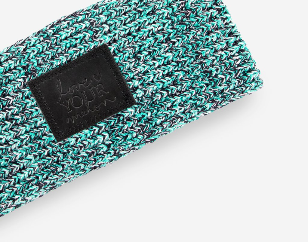 Mint Chip Knit Headband (Black Leather Patch) Wholesale