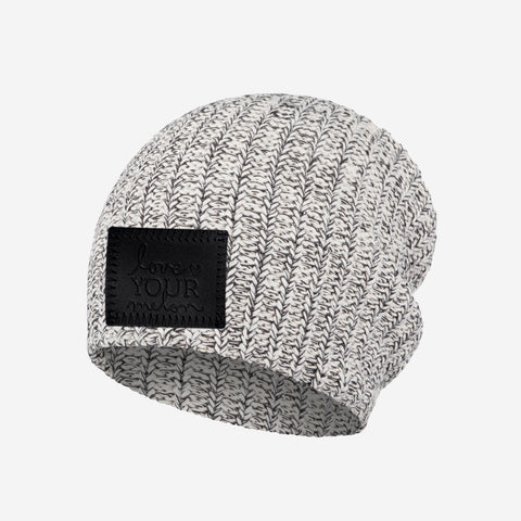 Kids Black Speckled Beanie (Black Leather Patch)
