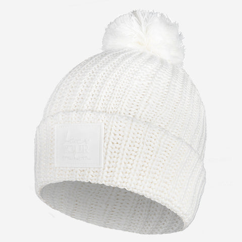 White Pom Beanie (White Rubber Patch)