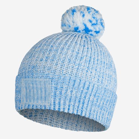 Blue Speckled Recycled Plastic Pom Beanie