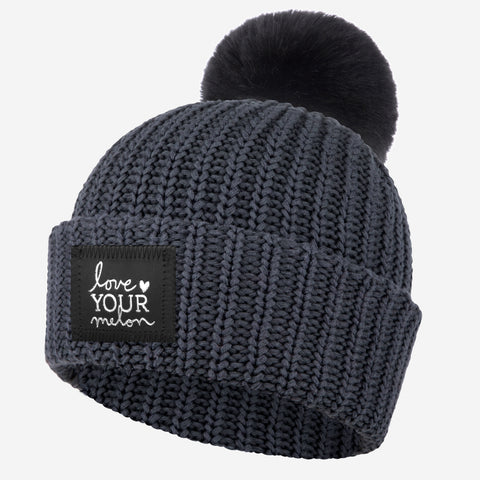 Dark Charcoal Silver Foil Pom Beanie (Black Pom)-Love Your Melon