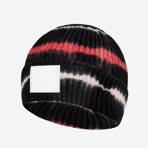 Black, Red, and White Tie Dye Lightweight Cuffed Beanie