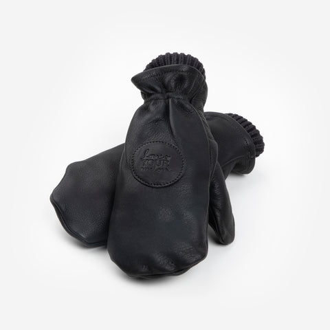 Black Leather Knit Mittens with Black Knit Liner-Accessory-Love Your Melon