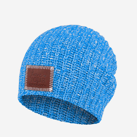 Bright Blue and White Speckled Beanie