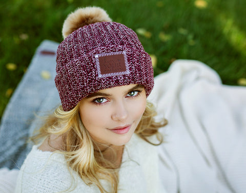 Burgundy and Natural Speckled Pom Beanie (Natural Pom)-Beanie-Love Your Melon
