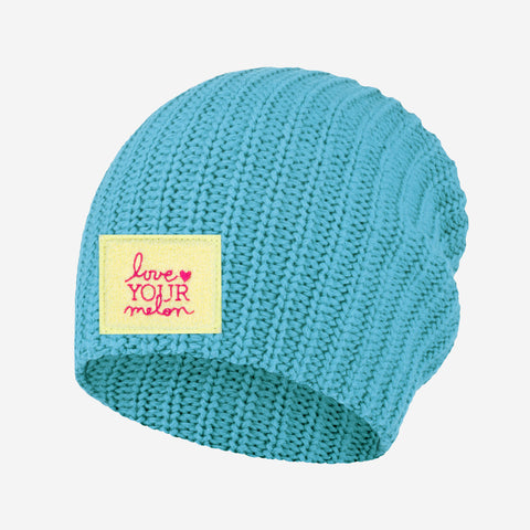 Sterling Blue Chenille Patch Beanie