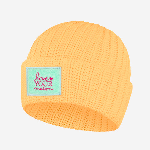 Cantaloupe Chenille Patch Cuffed Beanie