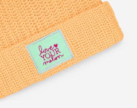 Cantaloupe Chenille Patch Pom Beanie