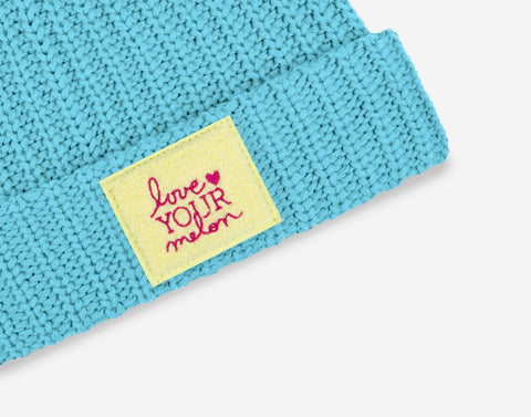 Sterling Blue Chenille Patch Pom Beanie