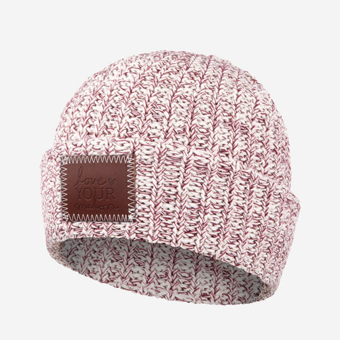 Burgundy Speckled Leather Patched Cuffed Beanie-Beanie-Love Your Melon