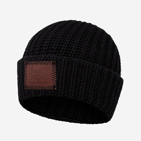 Black Cuffed Beanie (Black Stitching)