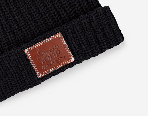 Black Pom Beanie (Natural Pom)-Beanie-Love Your Melon