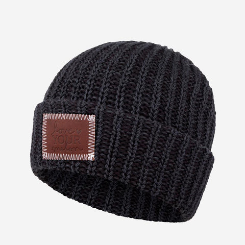 Smoke Leather Patched Cuffed Beanie-Beanie-Love Your Melon