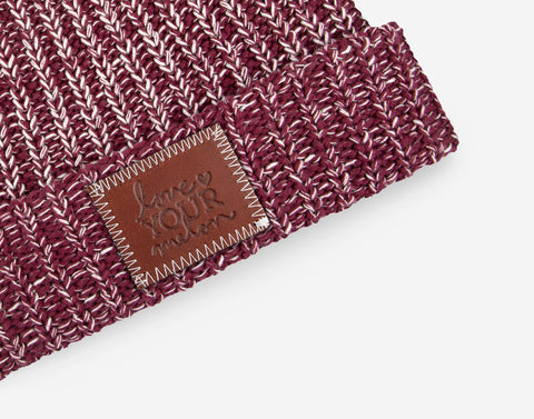 Burgundy and Natural Speckled Pom Beanie (Natural Pom)