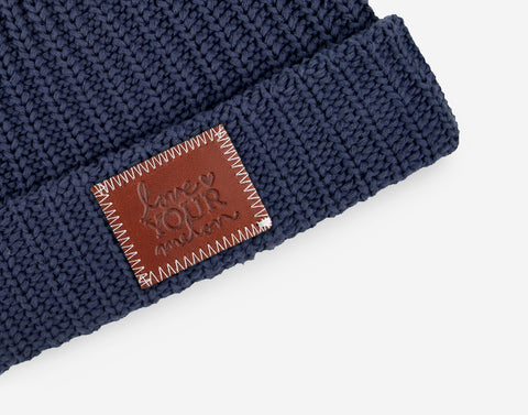 Navy Pom Beanie (Natural Pom)-Beanie-Love Your Melon