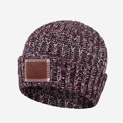 Black, Burgundy and White Cuffed Beanie-Beanie-Love Your Melon