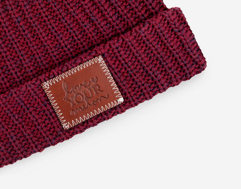Burgundy and Navy Speckled Cuffed Beanie-Beanie-Love Your Melon