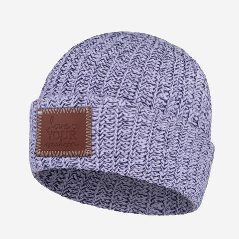Light Purple and Navy Speckled Cuffed Beanie