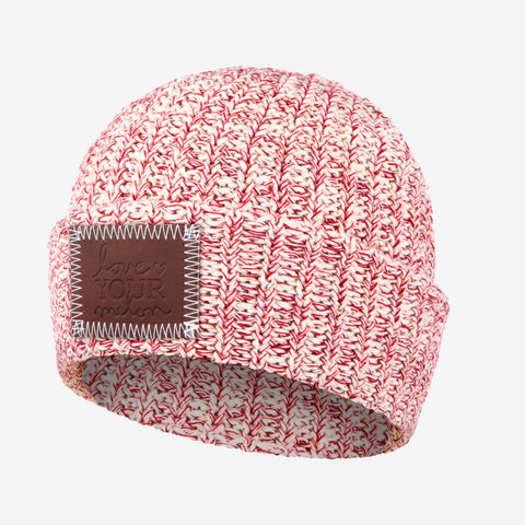 White and Red Speckled Cuffed Beanie