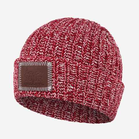 Crimson and White Speckled Cuffed Beanie