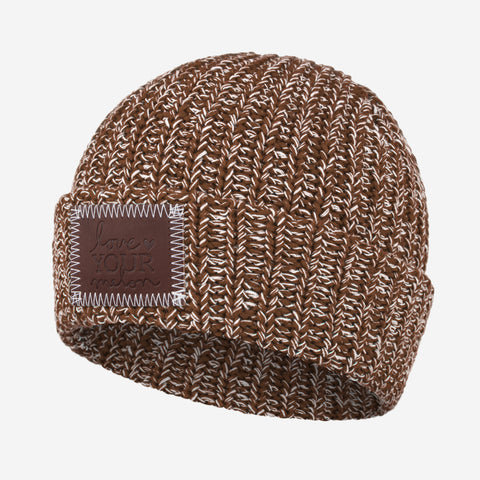 Brown and White Speckled Cuffed Beanie