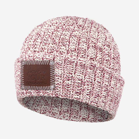 Crimson Speckled Cuffed Beanie