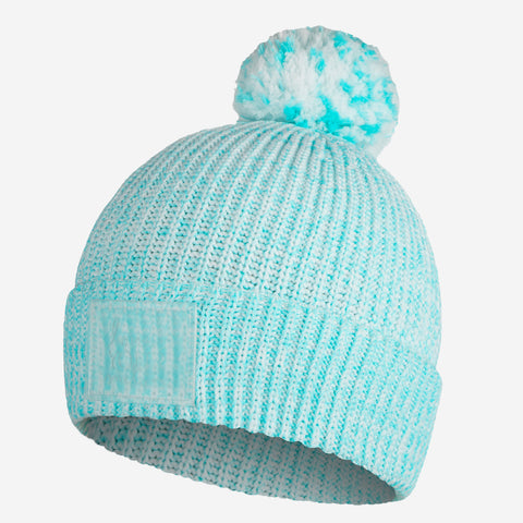 Ocean Blue Speckled Recycled Plastic Pom Beanie