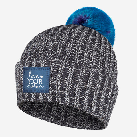 Charcoal and White Speckled Frost Pom Beanie (Navy Reflective)