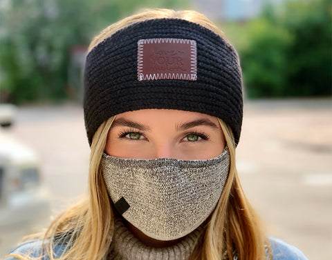 Adult Black Speckled Cotton Seamless 3D Knit Face Mask