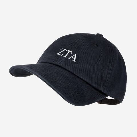 Zeta Tau Alpha Black Denim Wash Cap