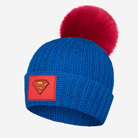 Superman™ Bright Blue Kids Pom Beanie