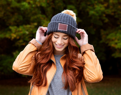 Dark Charcoal Pom Beanie (Natural Pom)-Beanie-Love Your Melon