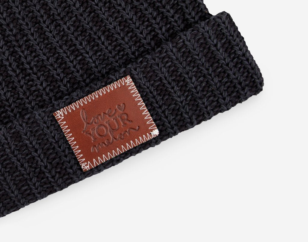 Love Your Melon Smoke Leather Patched Cuffed Beanie 2e4a36a5a285