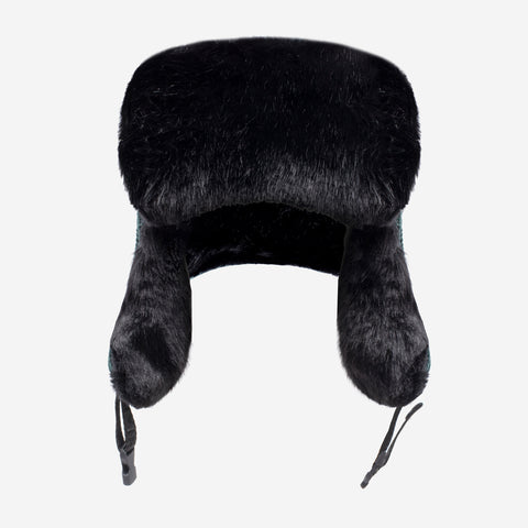 Hunter Green Faux Bomber Hat (Black Faux)